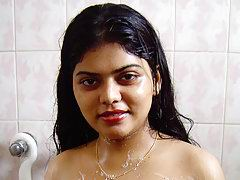 Neha in shower soaping her boobs teasing her hubby