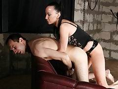 Pathetic skinny sub gets an intimidatingly big strap-on rammed into his ass
