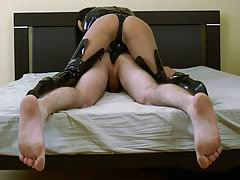 Femdom mistress makes a girlie plow her boyfriend's butthole with strap-on