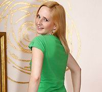 """Petite blond Alice Conrad shows off her delicious teen body while spreading her neatly shaven snatch with a Dreamcatcher so she can penetrate herself with her hairbrush"""
