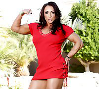 Brandi Mae stands outside in her sexy red dress flexing all her strong powerful muscles, then strips off her clothes and flexes naked.