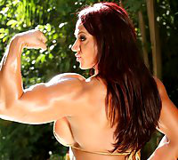 Big, defined, sexy and shiny describes Amber Deluca's awesome muscles in this hot bikini photo set.