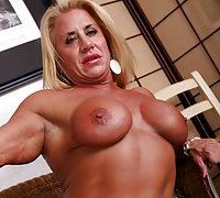 Beastly monster muscled babe with her pussy stuffed full!
